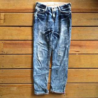 Brappers Boy Friend Jeans 牛仔褲/男友褲 25腰 3D反折褲 淺藍雪花