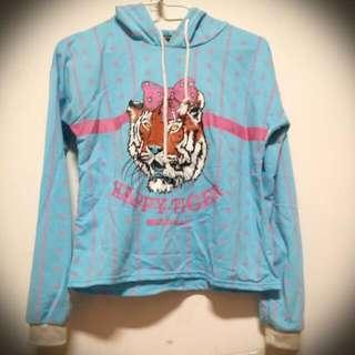 蝴蝶結老虎藍色短版上衣