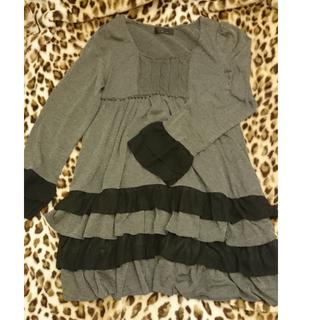 日系長袖黑灰連身洋裝連身裙