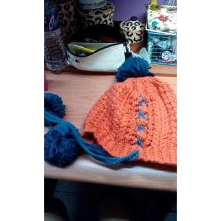 二手 橘色毛帽(保留)
