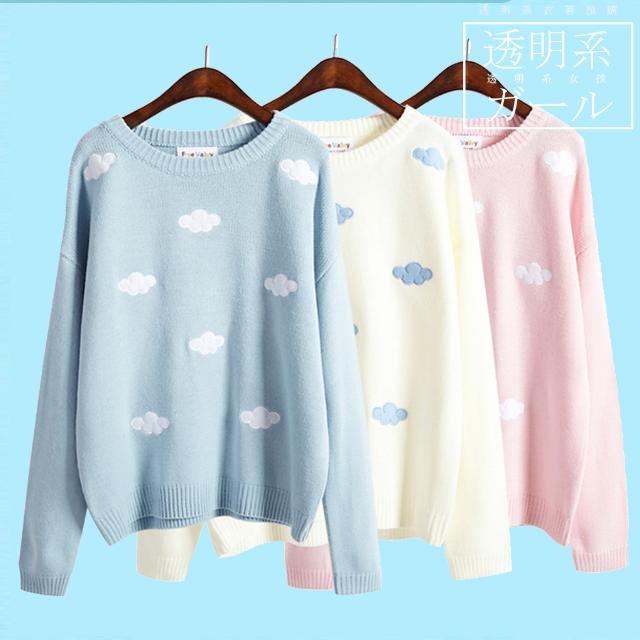 預購🌼粉色刺繡雲朵毛衣(共3色可選)
