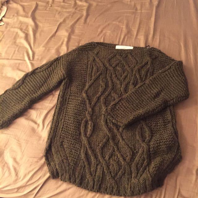 墨綠色羊毛長版毛衣
