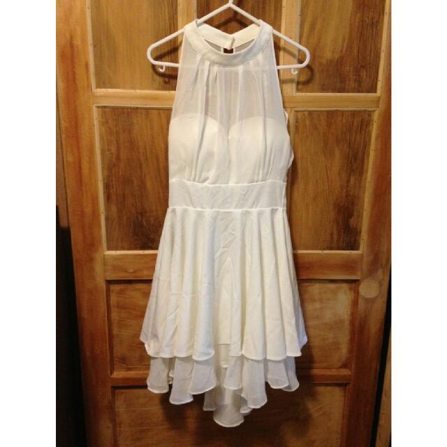 白色雪紡魚尾洋裝
