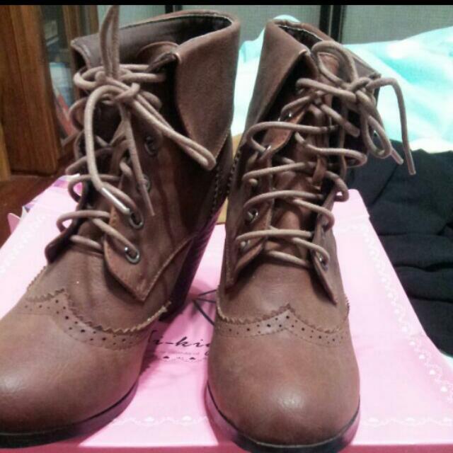 秋冬牛津 粗跟靴 高跟靴 中筒靴