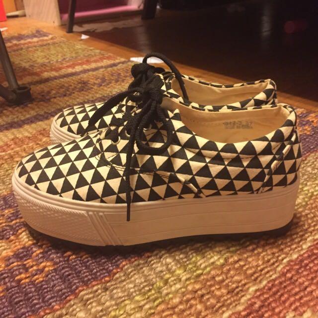 幾何圖形 厚底帆布鞋 37號