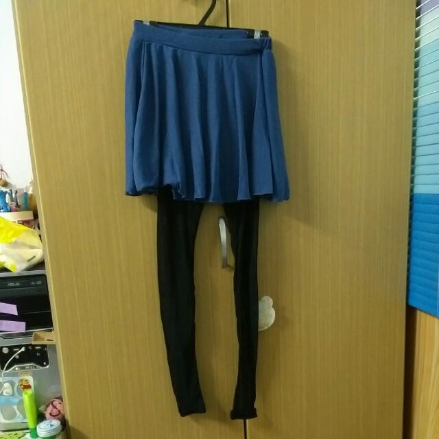 網狀透膚彈性內搭褲  藍色 含運