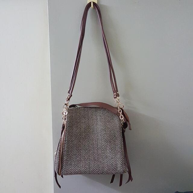 (含運)女用包包 肩背包 手提包 兩用包 咖啡色 棕色