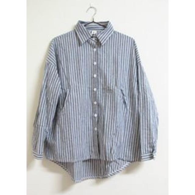 Bingo!現貨# 藍白色直條紋長版寬鬆襯衫