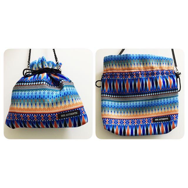泰國帶回✨全新BKK 特殊包款 束口包 民俗風格 黑鍊