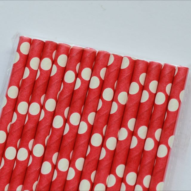 BN Paper Straws (25s) - Red Polka Dots