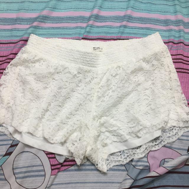 net白色蕾絲短褲