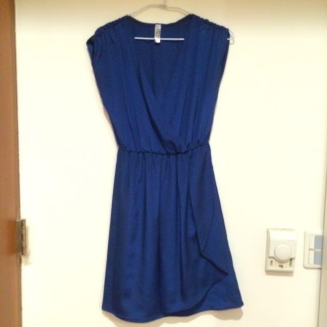 深藍色OL約會上班小洋裝