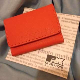 專櫃品牌 FX 真皮 女用名片盒/零錢包 全新橘粉色
