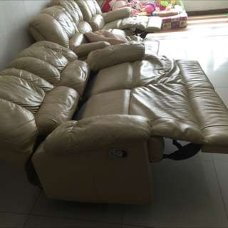 Pure leather recliner sofa ( RESERVED WITH DEPOSIT )