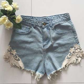TEM Light Denim Highwaist With Crochet Lace Sides