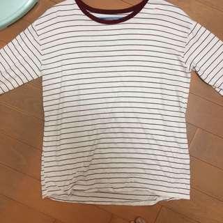 秋 酒紅條紋七分袖