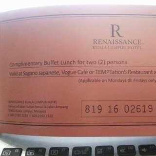 Complimentary Buffet Lunch Voucher