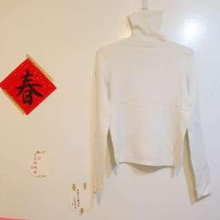 銀白色素色高領針織衫