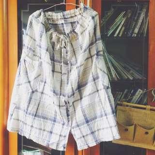 二手👗長裙 藍格子夏日風 有鬆緊帶