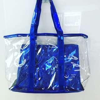 蘭芝Bling閃耀藍兩件式透明海灘包