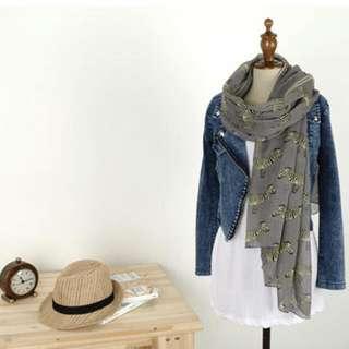 斑馬絲巾(灰色)