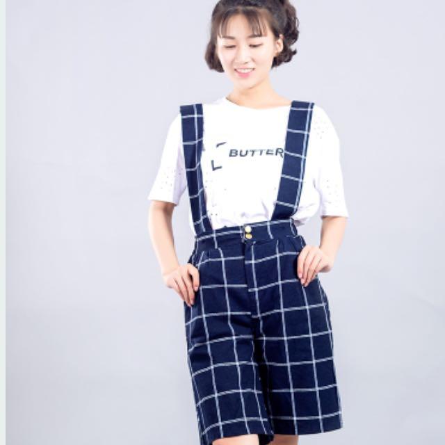 韓版吊帶格紋五分褲 含運