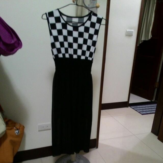 黑白格長洋裝
