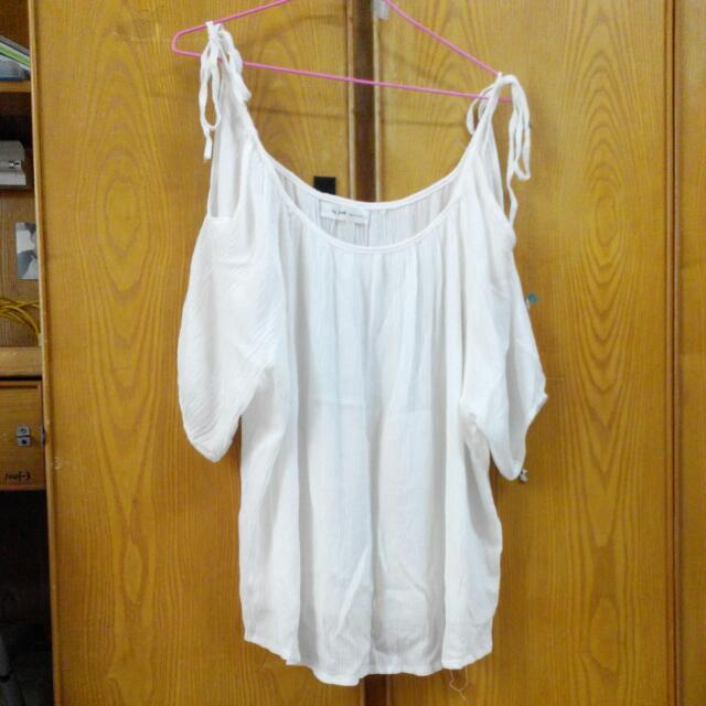 白色挖肩棉麻上衣,黑白條紋上衣