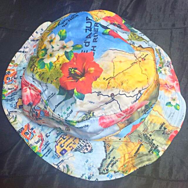 二手✨日系地圖花朵漁夫帽