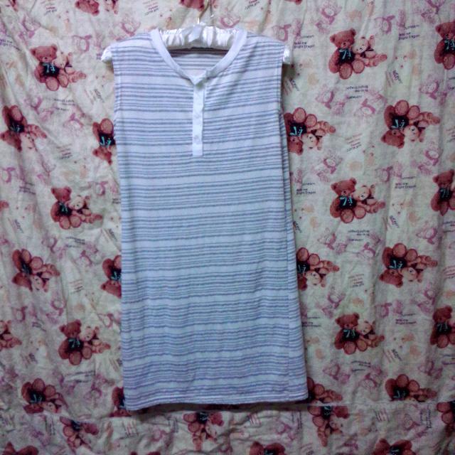 條紋無袖長版洋裝
