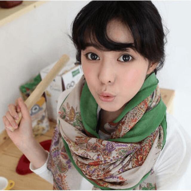 碎花絲巾(綠色)