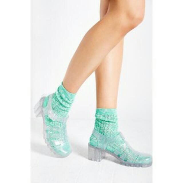 英倫風透明亮粉金蔥高跟果凍涼鞋