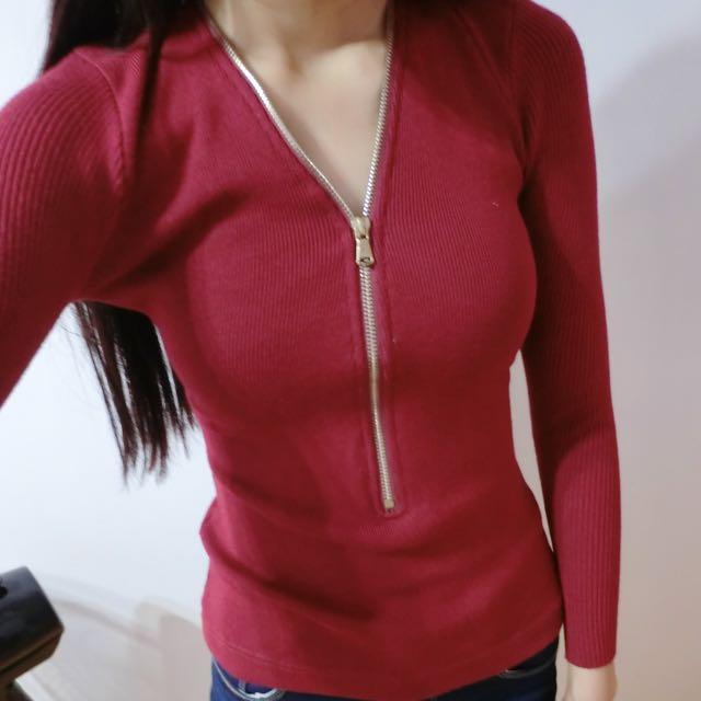 紅色拉鍊貼身上衣