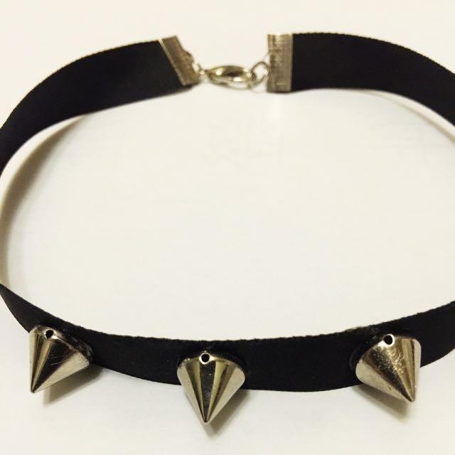 個性铆釘緞帶脖鍊 短鍊 項鍊
