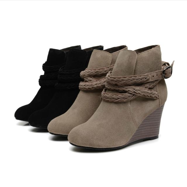 編織帶 真皮踝靴 坡跟 2色 韓 黑色 奶茶色 價格已含運