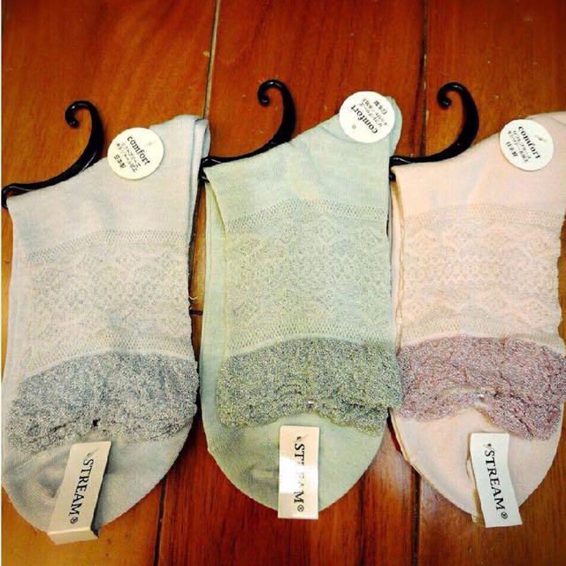 日本製蕾絲襪 灰藍 粉綠 粉紅