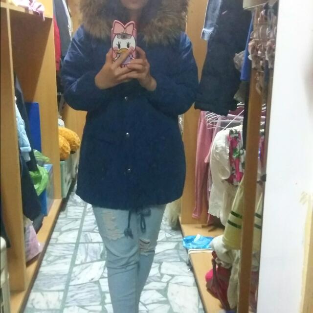 二手 秋冬季 毛毛連衣帽 深藍色大口袋厚外套 含運