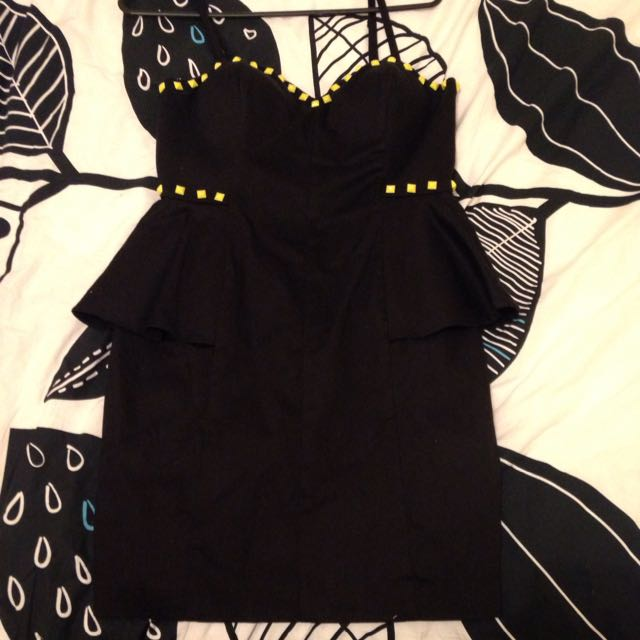 Black Dress With Yellow Studs