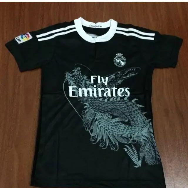 Black New Real Madrid Kids Jersey & Shorts Kids Set #7 Ronaldo