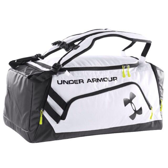 b1449cdfcb75 BNWT Under Armour White Contain Duffle Duffel Backpack Sports Bag ...