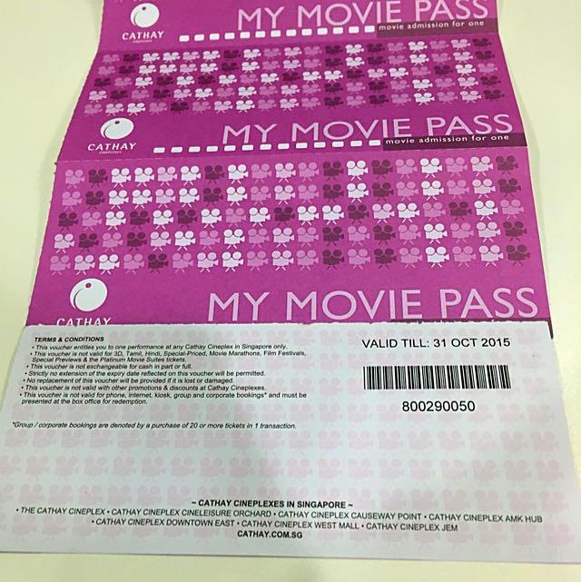 Cathay Cineplexes Movie Pass, 4pcs