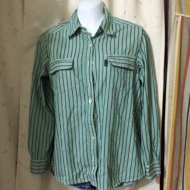 ELLE直條綠長袖襯衫