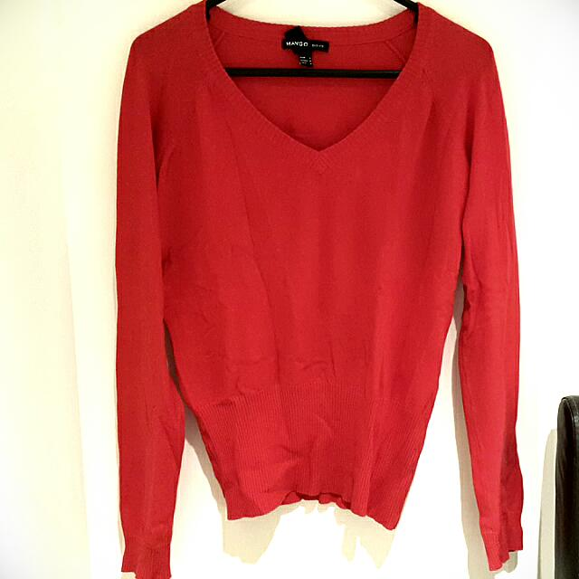 Mango Red V-Neck Sweater