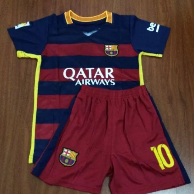 Red & Blue Barcelona 2016 Kids Jersey & Shorts Kids Set #10 Messi