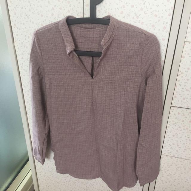 「貓咪曬月亮」V領壓摺襯衫(紫)