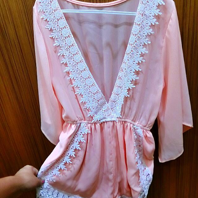 粉橘深v雪紡蕾絲連身褲