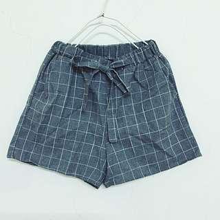 New-鬆緊寬鬆綁帶格紋短褲