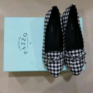黑白格紋娃娃鞋36號