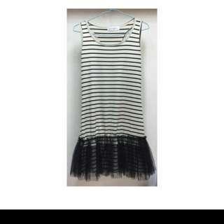 無袖黑白時尚條紋內搭裙-F