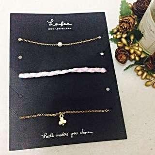 🚚 全新 LOVFEE 粉嫩編織鑲鑽珍珠組合手鍊組